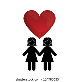 female gay couple silhouette with heart