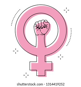 Female gender symbol and raised fist feminism vector icon or logo design illustration.