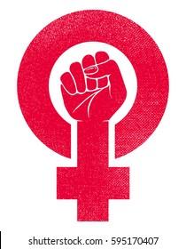 female gender symbol and raised fist feminism vector icon or logo design illustration
