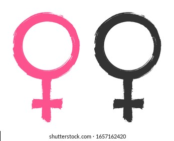 Female gender symbols, icons design template, grunge brush, vector illustration