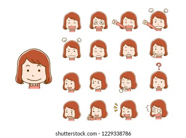 Female girl face expression various settings