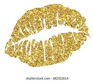 Female gold glitter lipstick kiss isolated on white background. Vector illustration. EPS10.
