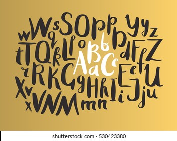Female Gold Lettering alphabet. Hand made ink font. Hand drawn Letters written with a brush. Trendy hipster vector illustration