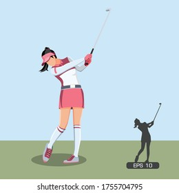 Female Golf Player Hitting the Ball