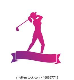female golf player, silhouette of golfer swinging golf club on white, vector illustration