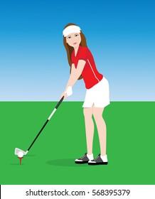 Female golf player.vector illustrator