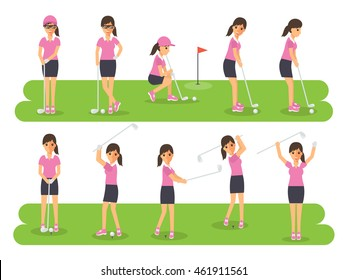 Female golf sport athletes, woman players playing, teeing off and putting with golf club. Flat design people characters.