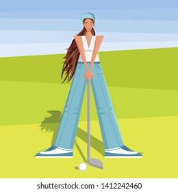 Female golfer goes golfing at the tournament. The girl plays golf. Women's golf team. Sportswoman in modern flat design.