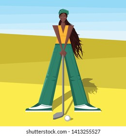 Female golfer goes golfing at the tournament. The girl plays golf. Women's golf . African american sportswoman in modern flat design.