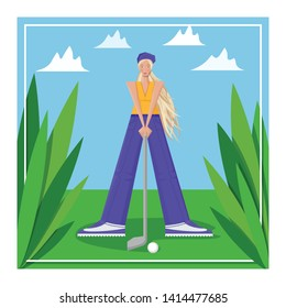 Female golfer goes golfing at the tournament. The girl plays golf. Women's golf team. Sportswoman in modern flat design on a white background for the site.