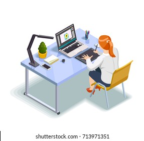 Female graphic designer working at her project 3d isometric vector illustration