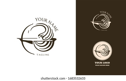Female greek archer logotype for beauty salon or health care. The woman shoots a bow. Vector illustration. Antient wrapped shape logo mark.