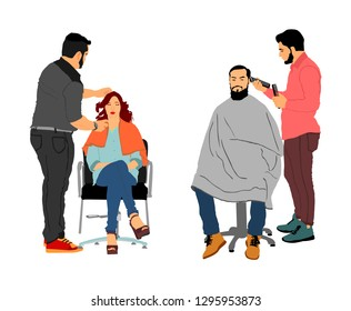 Female hairdresser with client lady in hairdress beauty salon vector. Woman in barber's chair getting haircut by hair stylist. Hairstylist serving long beard man customer at barber shop Scissors job.