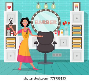 Female hairdresser invites for haircut. Vector illustration.