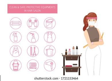 Female Hairdresser Wearing Mask And Face Shield, With Clean And Safe Protective Equipments in Hair Salon, Outline Icons Set, New Normal, Beauty, Shop, Healthcare