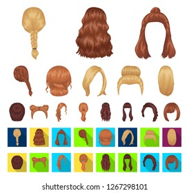 Female hairstyle cartoon,flat icons in set collection for design. Stylish haircut vector symbol stock web illustration.