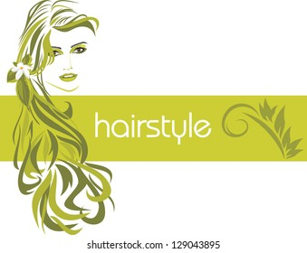 Female hairstyle. Decorative banner. Vector