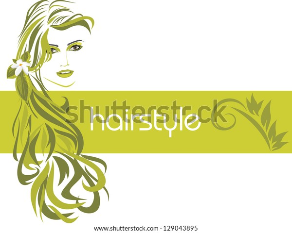 female-hairstyle-decorative-banner-vecto