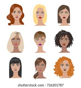 Female hairstyles set. All types of hair with different hair color.