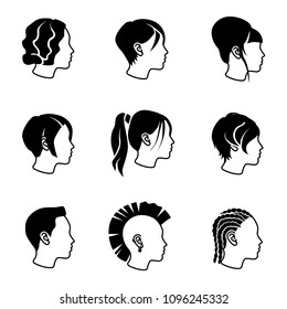 Female hairstyles vector icons