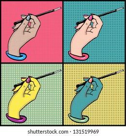 Female hand with cigarette holder pop art vector set. Retro design.
