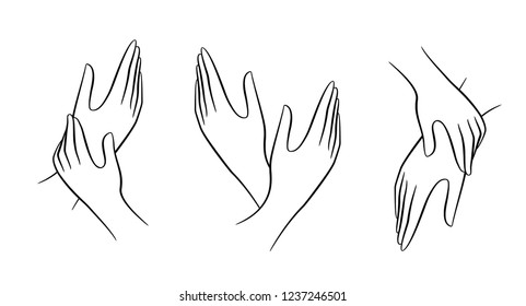 Female hand drawn line. You can color or change the position of the hands.