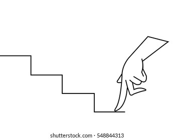 female hand as finger walking to upstairs. Hand drawn gesture symbol. Line art style graphic design element.