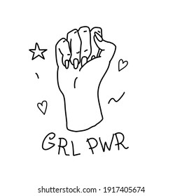 """Female hand in fist with inscription """"This Girl can"""". Feminist pride symbol for feminism united and fighting for rights. Doodle style. Vector illustration on isolated background."""