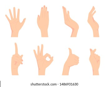 Female hand gesture (hand sign) vector illustration set / ok sign, thumb up , finger heart etc.