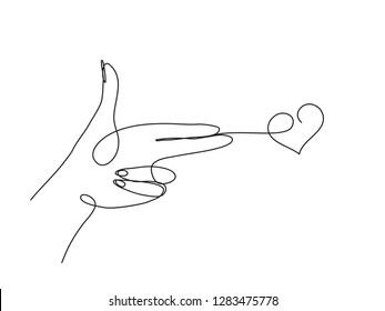 female hand in gun gesture. One line drawing.