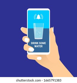 Female hand hold smartphone with drink some water text message and glass of water on screen. Woman showing cell phone with reminder notification. Healthy lifestyle concept. Vector EPS10 illustration.