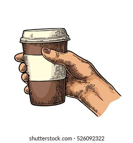 Female hand holding a disposable brown cup of coffee with cardboard holder and cap. Vintage color vector engraving illustration for label, web, flayer. Isolated on white background