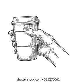Female hand holding a disposable cup of coffee with cardboard holder and cap. Vintage black vector engraving illustration for label, web, flayer. Isolated on white background