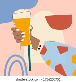 Female hand holding glass of beer. Woman's hans in bright clothes with memphis pattern holding glass. Alcohol drink. Concept of beer lover. Side view. Flat vector illustration