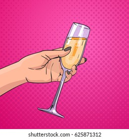 Female Hand Holding Glass Champagne Wine Pop Art Retro Pin Up Background Vector Illustration