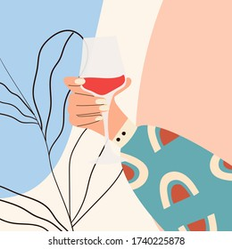 Female hand holding glass of wine. Woman's hand in bright clothes with memphis pattern holding glass. Alcohol drink. Concept of wine lover. Picture on abstract background. Flat vector illustration