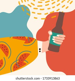 Female hand holding jar of beer. Woman's hand in bright clothes with memphis pattern holding cider jar. Alcohol drink. Concept of beer lover. Picture on abstract background Flat vector illustration