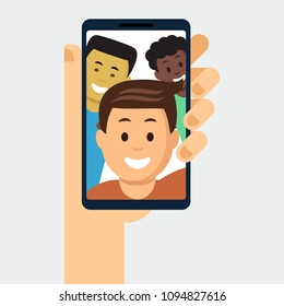 Female hand holding modern cellphone with young smiling men displaying on screen cartoon flat style vector illustration. Isolated on white background