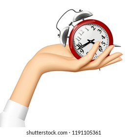Female hand holding on the palm a red retro alarm clock. Vector Illustration