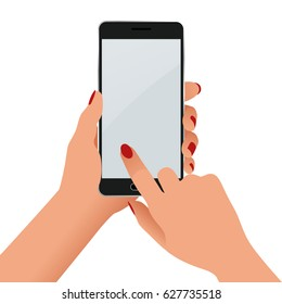 Female hand holding a phone with blank screen. Flat Isolated illustration on white background
