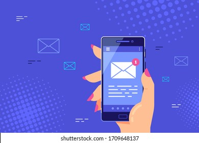 Female hand holding smartphone with letter icon on the screen. E-mail application on mobile phone, new message concept banner. Flat style vector illustration.