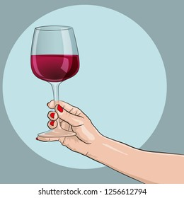 Female hand holding a wine glass. Wine tasting. Vector drawing.