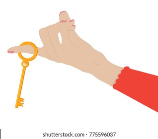 Female hand holds a gold key