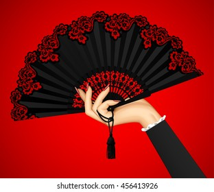 Female hand with open black vintage fan isolated on red light background. Vector illustration