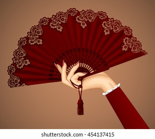Female hand with open vintage fan isolated in brown colors. Vector illustration