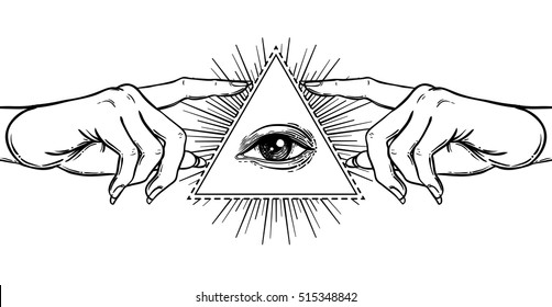 Female hand pointing on something with forefinger. New World Order. Hand-drawn alchemy, religion, spirituality, occultism. Black and white vector illustration in vintage style isolated on white.