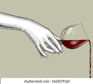 Female hand pours wine from a glass. Vintage color engraving stylized drawing. Vector illustration