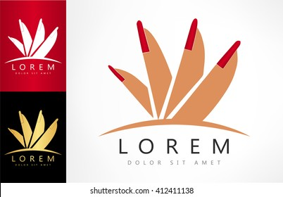 female hand and red manicure logo. vector illustration.