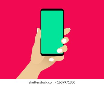 Female hand shows smartphone with blank green display. Woman hold cell phone in arm. Presentation template for mobile application or service. Isolated flat design closeup. Vector EPS8 illustration.