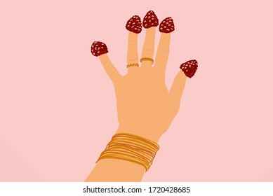 Female hand with strawberries on fingers on a background, close-up. Vector illustration in flat cartoon style